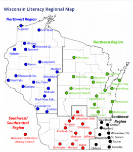 Wisconsin Literacy's regional map