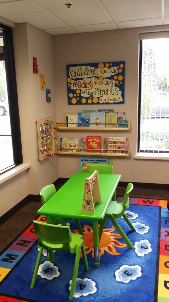 Mosaic Family Health's literacy-rich waiting room created by APL in Fox Cities area