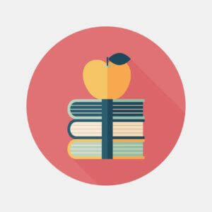 illustration of books with apple