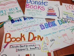 book drive signs