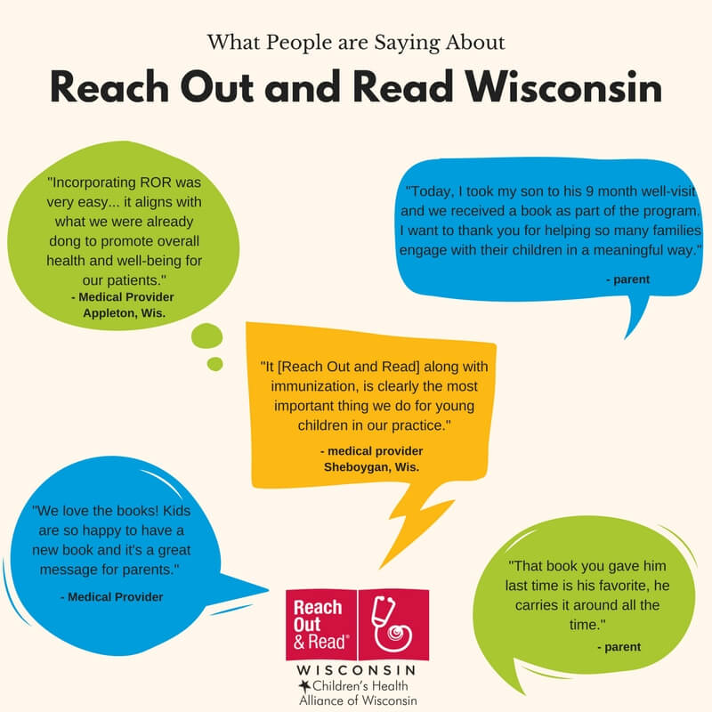 Infographic with quote bubbles with saying from doctors and parents about Reach Out and Read Wisconsin program