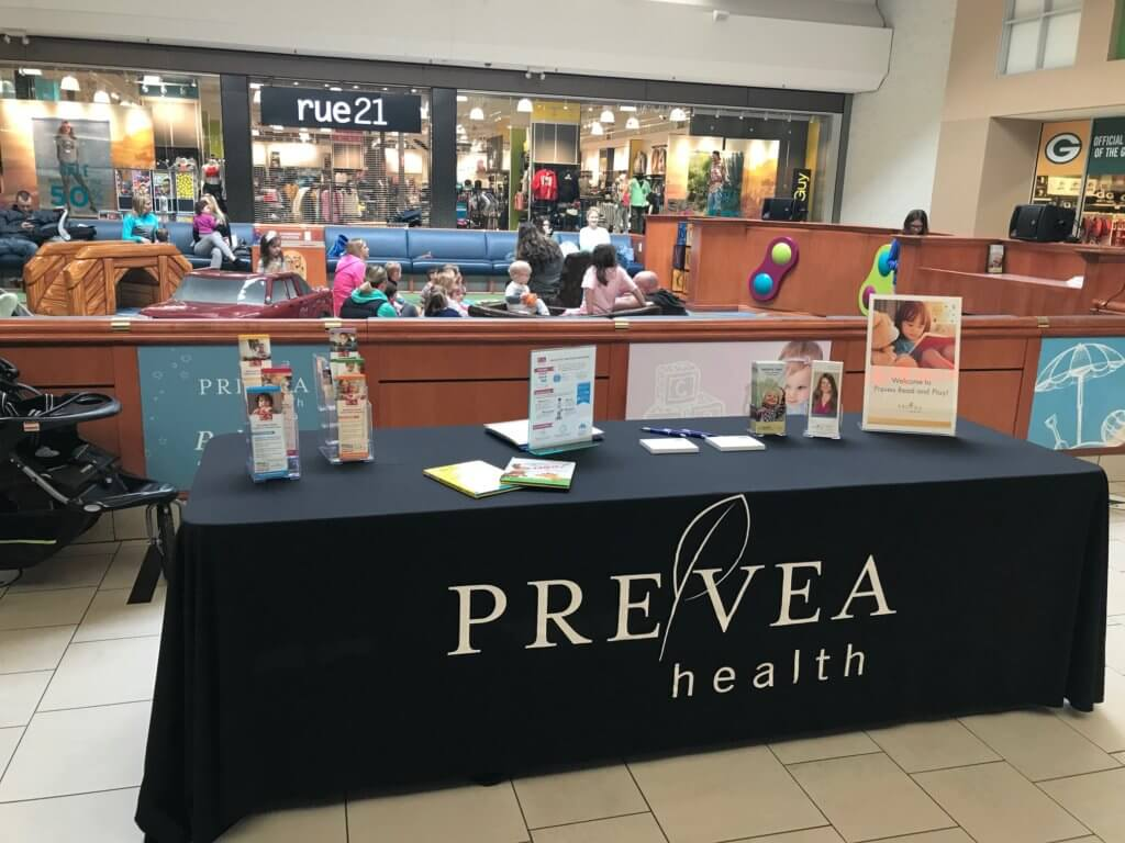 Information table at Prevea Read and Play with information about Reach Out and Read and Prevea Health