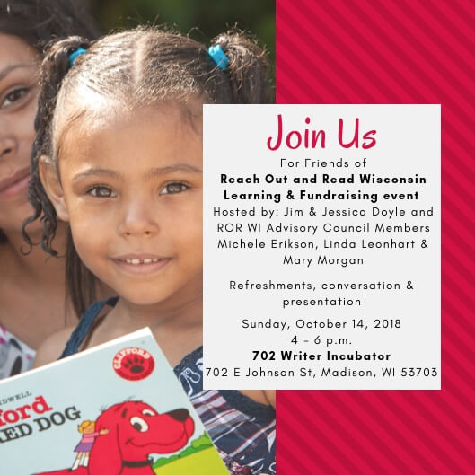 event invite for Reach Out and Read Wisconsin learning and fundraising event