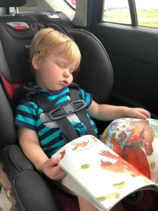 picture of young boy reading in the car and sleeping