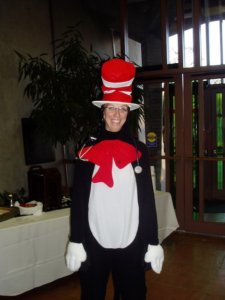 doctor dressed up as cat in the hat