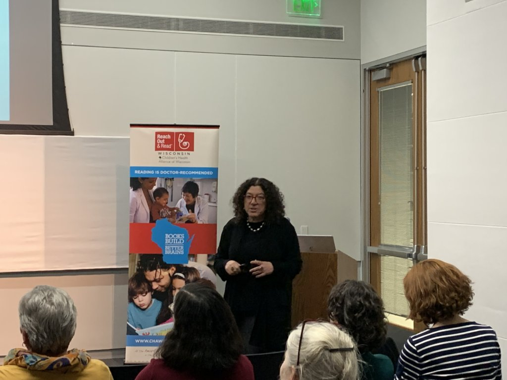 Dr. Perri Klass presents at Madison Public Library about the importance of books and reading aloud for healthy child development
